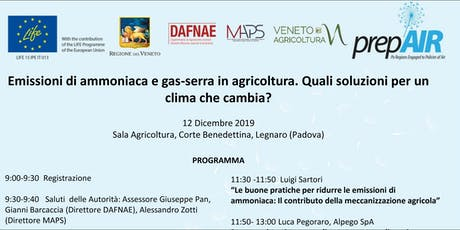 Emissioni di ammoniaca e gas-serra in agricoltura biglietti