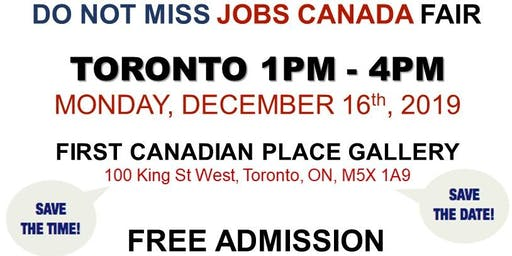 Free: Toronto Job Fair - December 16th, 2019