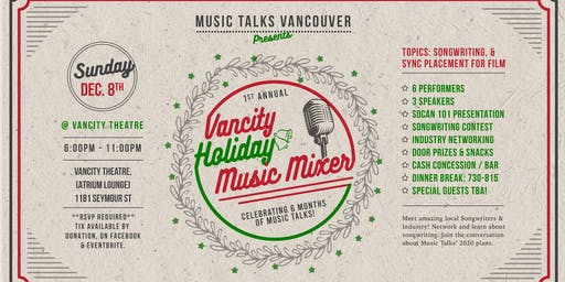 Music Talks vol. 6 - Holiday Mixer & Songwriter Showcase + Talks