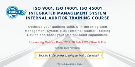 ISO 9001, 14001, 45001 (IMS) Internal Auditor Training tickets