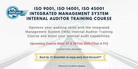 ISO 9001, 14001, 45001 (IMS) Internal Auditor Trai tickets