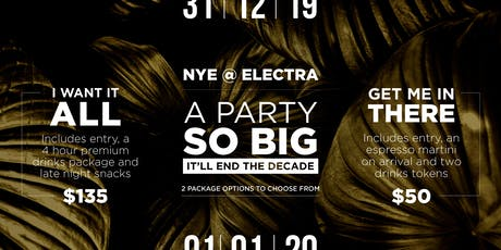 NYE @ Electra House Hotel 2019 tickets