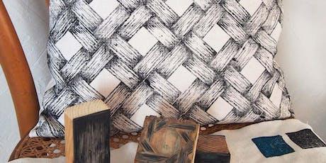 Atelier d'impression textile au block-print avec Golden Lake Design billets