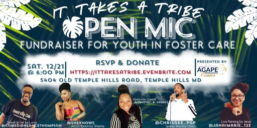 It Takes A Tribe: Open Mic Fundraiser for Foster Care Youth