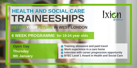 Open day - Health and Social Care traineeships for 19-24 yr old WEST LONDON tickets