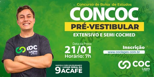 CONCURSO BOLSA DE ESTUDOS COC LAGES   CONCOC PRÉ-VESTIBULAR 2020