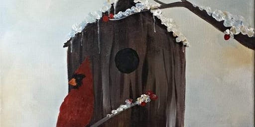 Winter Cardinal Family Friendly Paint Class