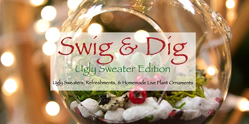 Ugly Sweater Swig and Dig (Succulent/Air Plant Ornaments)