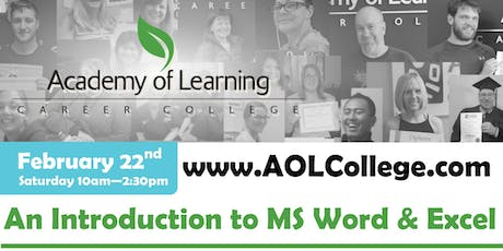 Introduction to the Basics of Word & Excel - Academy of Learning Westshore tickets