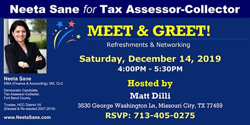 Neeta Sane for Tax Assessor-Collector: Meet & Greet hosted by Matt Dilli