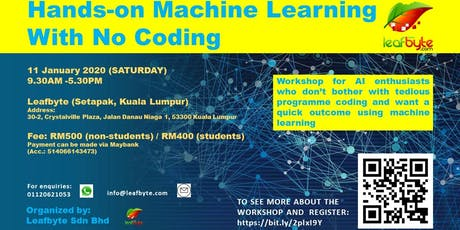 Hands-on Machine Learning (AI) With No Coding tickets