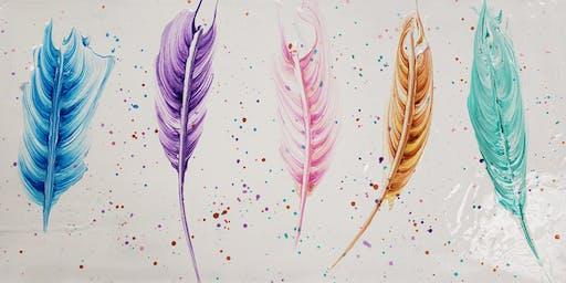 Feather Paint Pour Paint Night