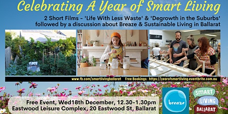 Celebrating a Year Of Smart Living in Ballarat 2 Short Films - Degrowth in the Suburbs / Life With Less Waste tickets