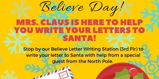Mrs. Claus Letter Writing for Believe Day