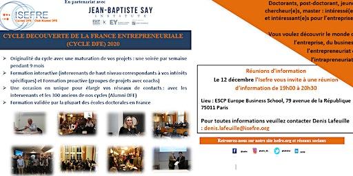 Invitation à la Réunion d'information CYCLE DÉCOUVERTE DE LA FRANCE ENTREPRENEURIALE (CYCLE DFE) 2020