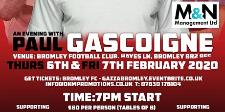 An Evening with Paul Gascoigne 2 tickets