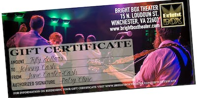 BRIGHT BOX THEATER GIFT CERTIFICATE