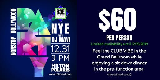 Bollywood NYE Party at Hilton Polaris - Presented by B3E