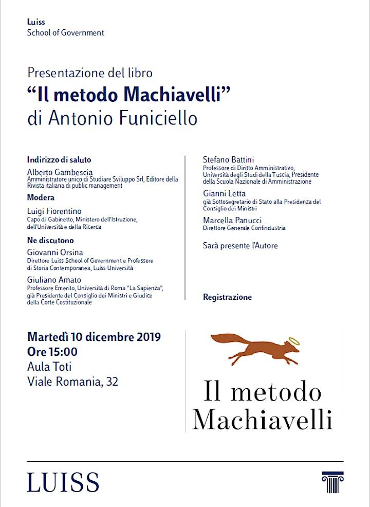 """Immagine Presentazione del libro """"Il metodo Machiavelli"""" di Antonio Funiciello"""