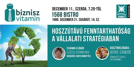 Decemberi BizniszVitamin, Kolozsvár - Hoszzútávú fenntarthatóság a vállalati stratégiában, Szécsi Gyöngyike, Coats tickets