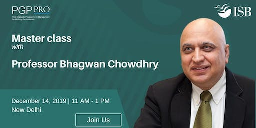 "PGPpro Masterclass on ""The promise of Blockchain"" by Prof Bhagwan Chowdhry, ISB - 14Dec2019"