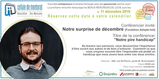 Rencontre réseautage Les beaux mercredis de Lucie - décembre 2019