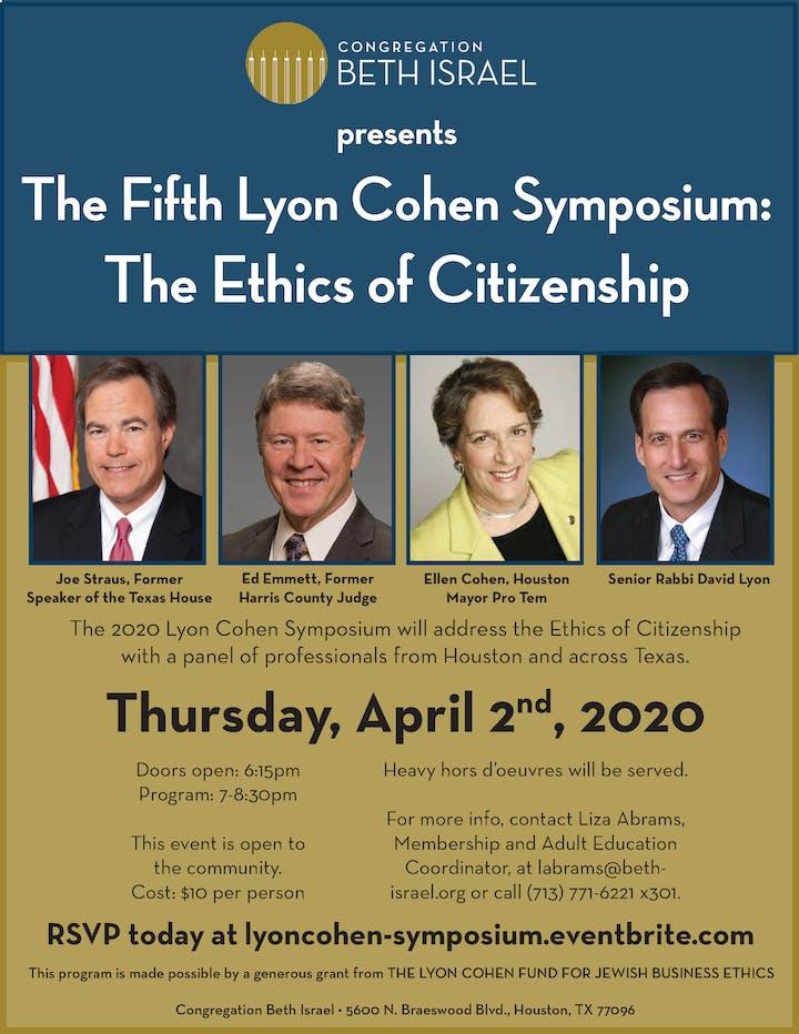Houston Events April 2020.Lyon Cohen Symposium
