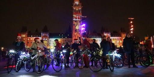 Casual bike parade to the Christmas market