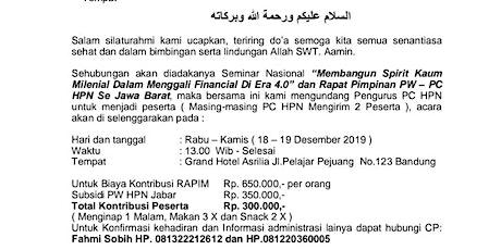 """Seminar Nasional """"Membangun Spirit Kaum Milenial Dalam Menggali Financial Di Era 4.0"""" dan Rapat Pimpinan PW – PC HPN Se Jawa Barat tickets"""