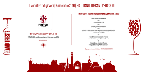 Cena Redwall district | L' etrusco Wine restaurant biglietti