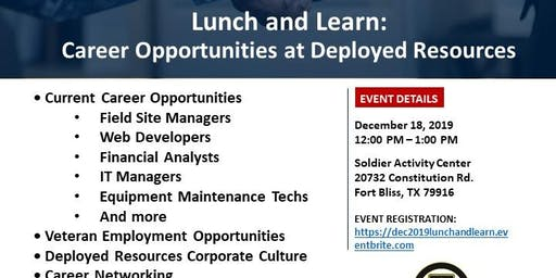 Lunch and Learn: Careers Opportunities at Deployed Resources