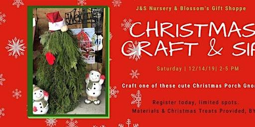 Christmas Craft & Sip Workshop-Porch Gnome