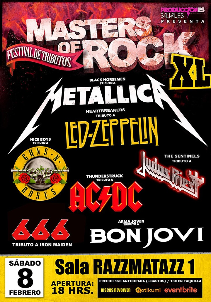 Imagen de Festival de tributos MASTERS OF ROCK XL. Barcelona