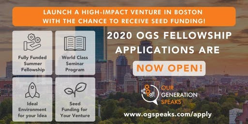 OGS in JLM: Create an Impact Startup via Fully-Funded Fellowship in Boston