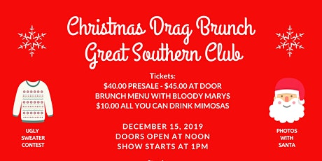 Christmas Drag Brunch Great Southern Club tickets