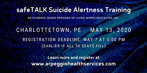 safeTALK Suicide Alertness Training - Charlottetown, PE