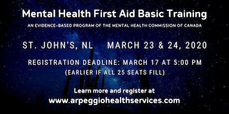 Mental Health First Aid Basic Training - St. John's, NL tickets