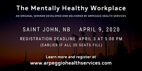 Seminar: The Mentally Healthy Workplace - Saint John, NB tickets