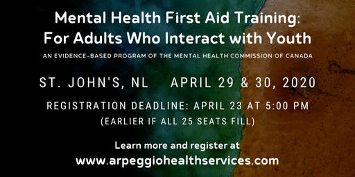 Mental Health First Aid Training: YOUTH - St. John's, NL