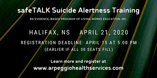 safeTALK Suicide Alertness Training - Halifax, NS
