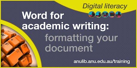 Word: formatting your document workshop tickets