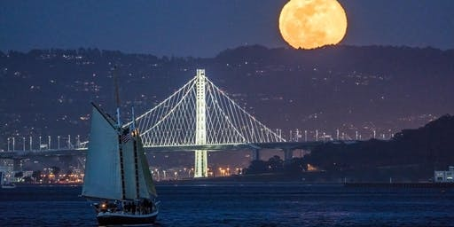 Blue Moon October 2020-Moonrise and Baylights Sail on the San Francisco Bay