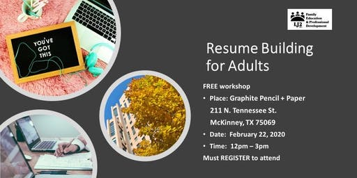 Resume Building Workshop for Adults - Free