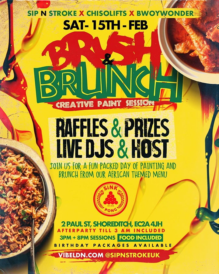 BRUSH 'N BRUNCH | Sip and Paint party | Food Included (3pm - 7pm) image