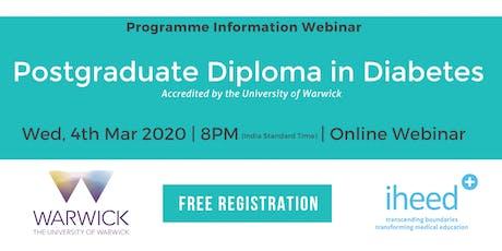 Pg Diploma Diabetes: University of Warwick - Info Webinar - India Mar 2020 tickets