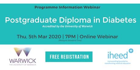 Pg Diploma Diabetes: University of Warwick - Info Webinar - MYS Mar 2020 tickets
