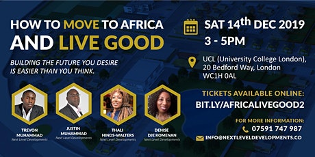 How to move to Africa and live good London Sat 14th Dec 3pm (donation) tickets