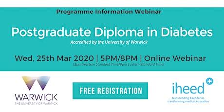 Pg Diploma Diabetes: University of Warwick - Info Webinar - AU Mar 2020 tickets