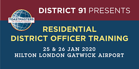 District 91 - January 2020 Residential District Officer Training (DOT) tickets