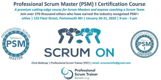 Scrum.org Professional Scrum Master (PSM) I - Portsmouth NH  - Jan 30-31, 2020